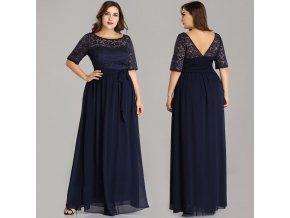Modré krajkové společenské šaty s rukávem pro boubelky