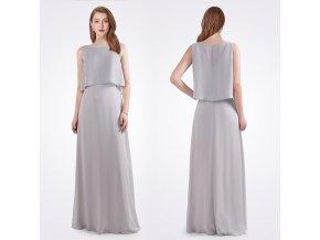 Šedé stříbrné dlouhé společenské šaty s volným topem pro dámy na svatbu