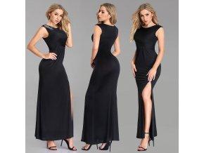 Černé splývavé dlouhé plesové šaty na široká ramínka se stříbrnou ozdobou na rameni