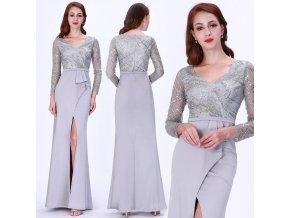 Šedé stříbrné společenské šaty se zlatou nití na ples 6