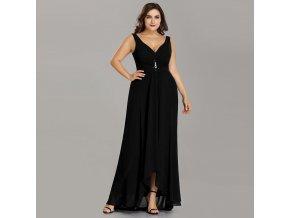 Černé dlouhé společenské šaty na ramínka vpředu kratší pro plnoštíhlé