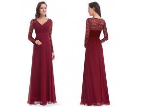 Červené vínové dlouhé společenské šaty s krajkovým rukávem
