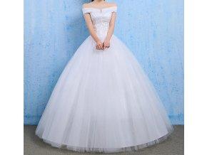 Bílé dlouhé luxusní svatební šaty se spadlými ramínky