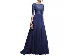 Modré dlouhé společenské šaty s krajkou na ples