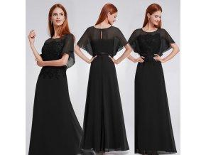 Černé dlouhé společenské šaty s rukávem 7