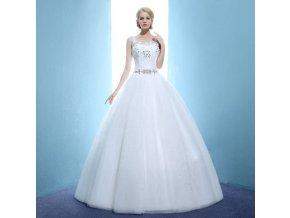 Bílé dlouhé luxusní svatební šaty pro plnoštíhlou s kruhovým výstřihem na zádech1