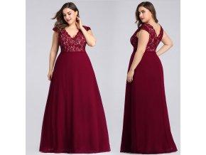 Červené vínové dlouhé společčnské šaty s krajkou pro plnoštíhlé