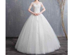aa7aeff08933 Bílé luxusní dlouhé svatební šaty s rukávkem a krajkou