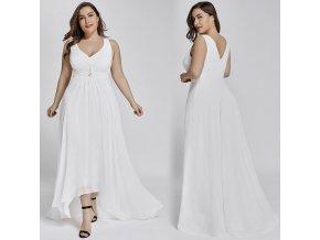 Bílé dlouhé svatební šaty v předu kratší vhodné i pro těhotné