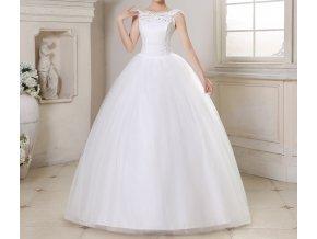 Bílé dlouhé luxusní svatební šaty se širokými ramínky pro boubelky
