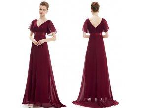 Červené dlouhé společenské šaty těhotenské s rukávem