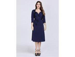 Modré krátké společenské šaty zavinovací pro plnoštíhlé boubelky 4