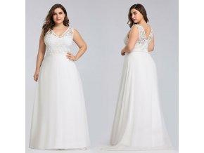Bílé dlouhé společenské svatební šaty s vlečkou a krajkou pro těhotné