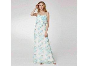Bílé dlouhé společenské svatební šaty se vzorem letní 2