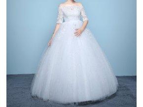 Bílé luxusní douhé svatební šaty pro těhotné s rukávem 1