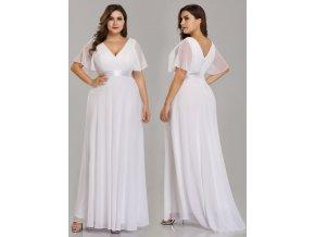Bílé dlouhé svatební šaty s rukávem pro těhotné