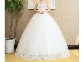 Bílé dlouhé luxusní svatební šaty bez ramínky se štrasem