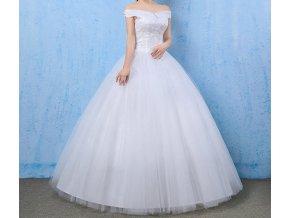 Bílé svatební luxusní šaty na ramínka pro romantickou nevěstu 1
