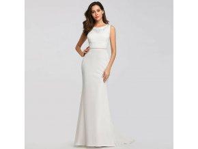 Bílé dlouhé luxusní svatební pouzdrové šaty s výšivkou elastické 1