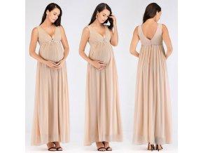 Béžové tělové dlouhé těhotenské společenské svatební šaty