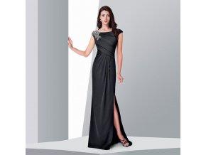 Černé splývavé dlouhé plesové šaty na široká ramínka se stříbrnou ozdobou na rameni 1