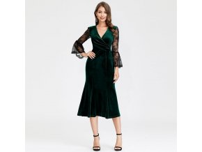 Zelené krátké společenské sametové šaty s rukávem 5