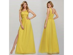 Žluté dlouhé společenské šaty s rozparkem na jedno rameno