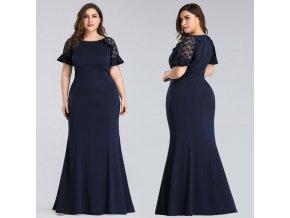 Tmavě modré společenské šaty s rukávky elastické pro boubelky plnoštíhlé 1
