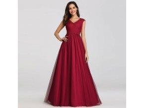 Červné luxusní večerní šaty na ples s krajkou a bohatou sukní 5