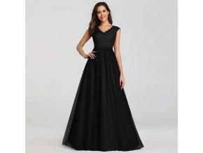 Černé luxusní večerní šaty na ples s krajkou a bohatou sukní