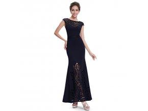 Modré dlouhé sexy společenské šaty s prostřihy na ples