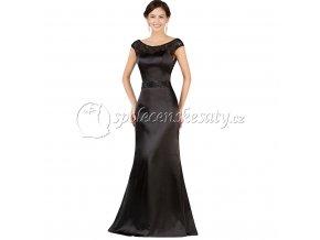 Černé luxusní dlouhé společenské šaty L167