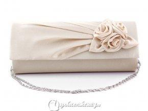 kabelka psanicko krémová béžová s ruzickami k02