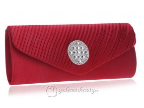 kabelka psanicko cervena s kulatou strasovou ozdobou rasena klopa k43