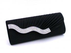 Černá luxusní mini kabelka psaníčko na ples svatbu do společnosti s asymetrickým štrasováním