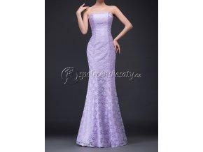 Fialové dlouhé krajkové společenské šaty L176