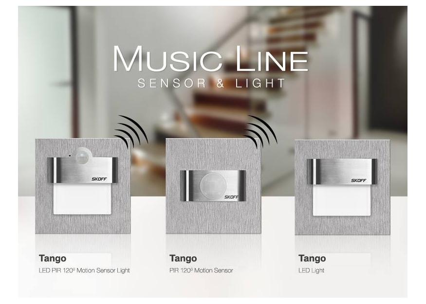 Novinka v sortimentu - LED orientační svítidlo s PIR senzorem + rozšíření řady MUSIC LINE značky SKOFF na 230V