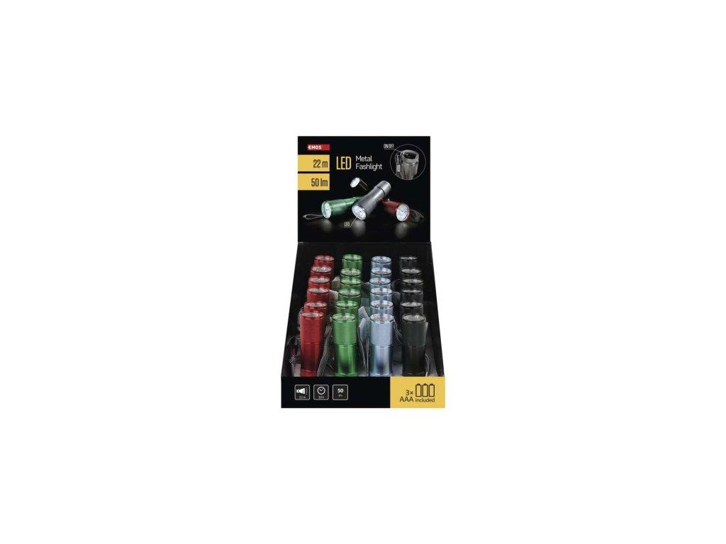 LED svítilna  kovová, 9x LED, na 3x AAA, 24 ks - Emos (P3848A)