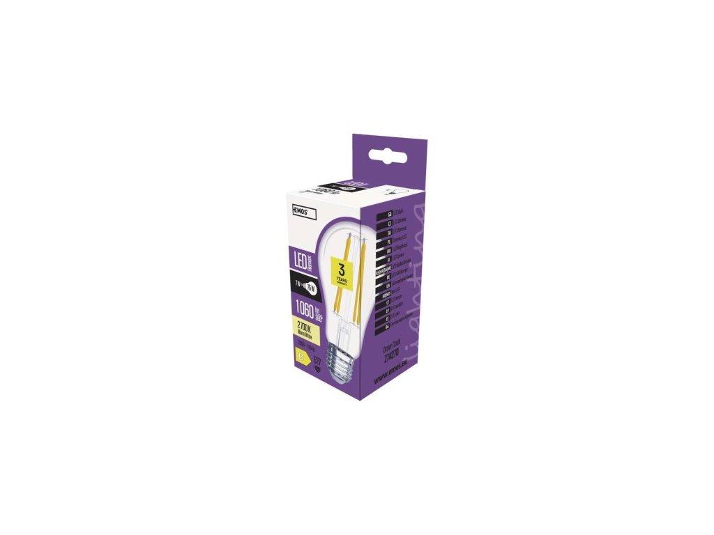 LED žárovka Filament - Classic - 8W, 1060lm, E27, teplá bílá (WW) - Emos (Z74270)
