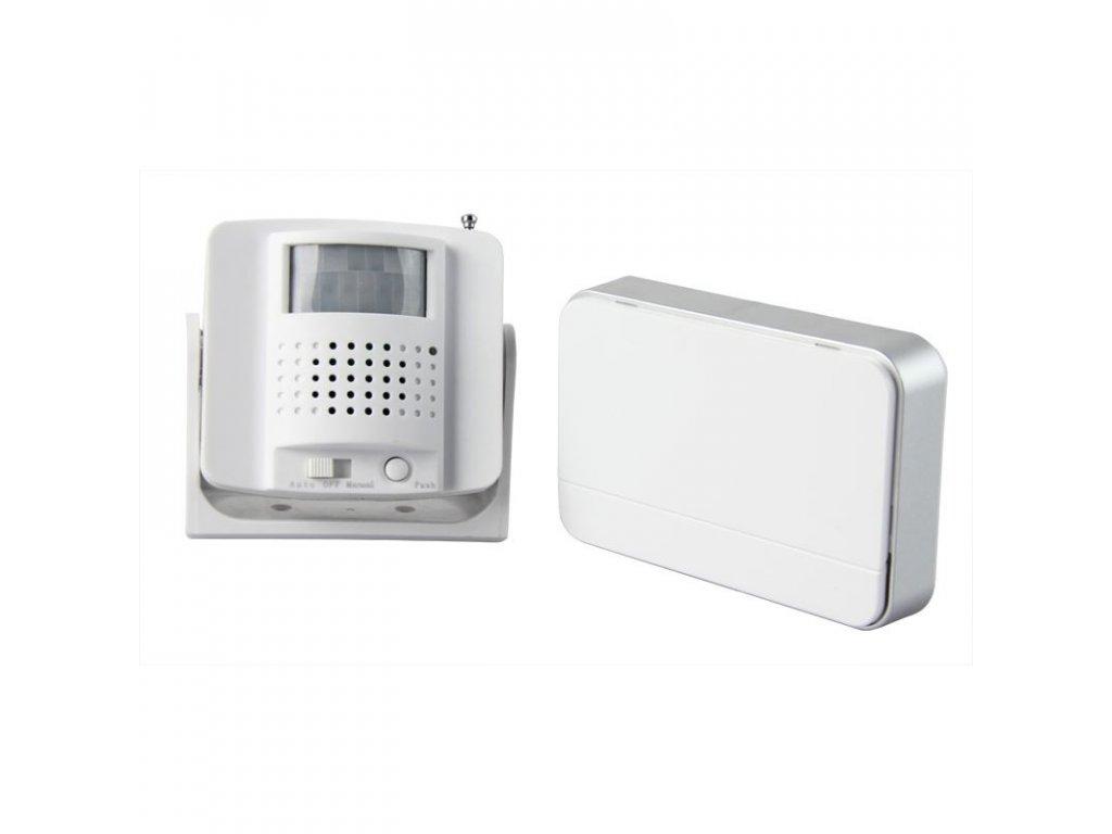 Bezdrátový hlásič pohybu/gong, externí PIR čidlo, napájení bateriemi, bílý - Solight (1D05)