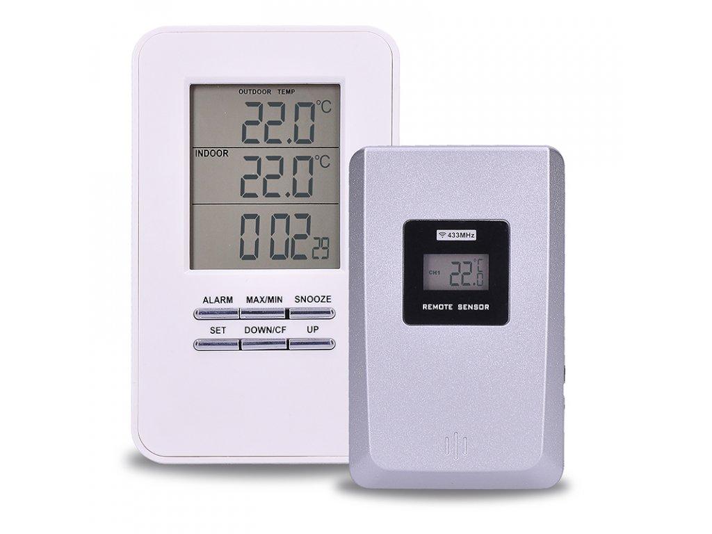 Bezdrátový teploměr, teplota, čas, budík, bílý - Solight (TE44)