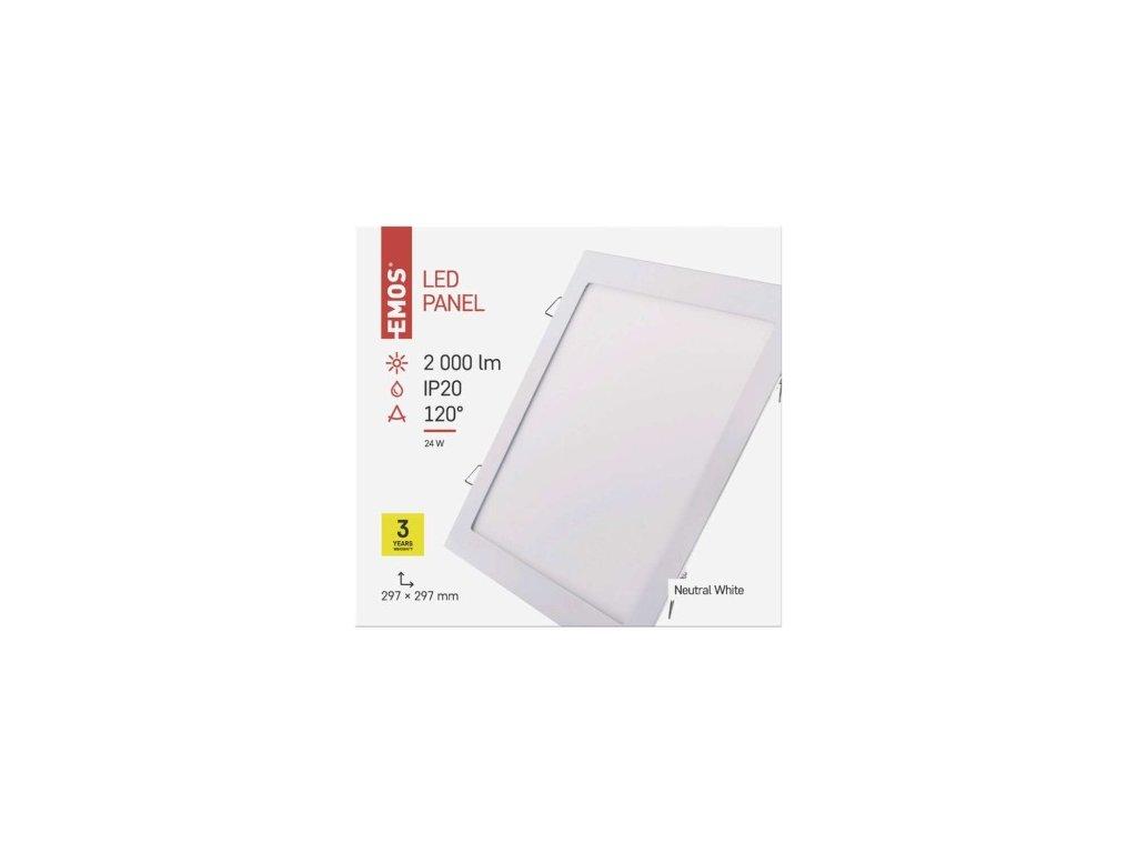 LED panel čtvercový vestavný - 24W NW - bílý - Emos (ZD2152)