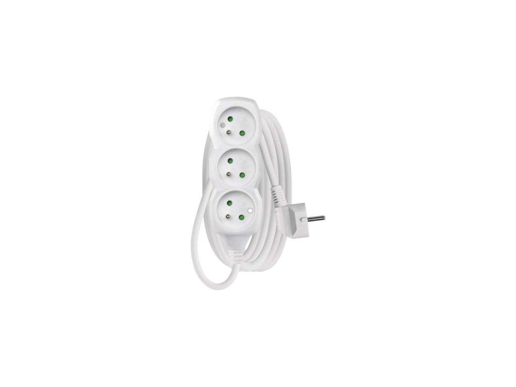 Prodlužovací kabel 3 zásuvky 3m, 3x1,5mm, bílý, PVC - Emos (P0313R)