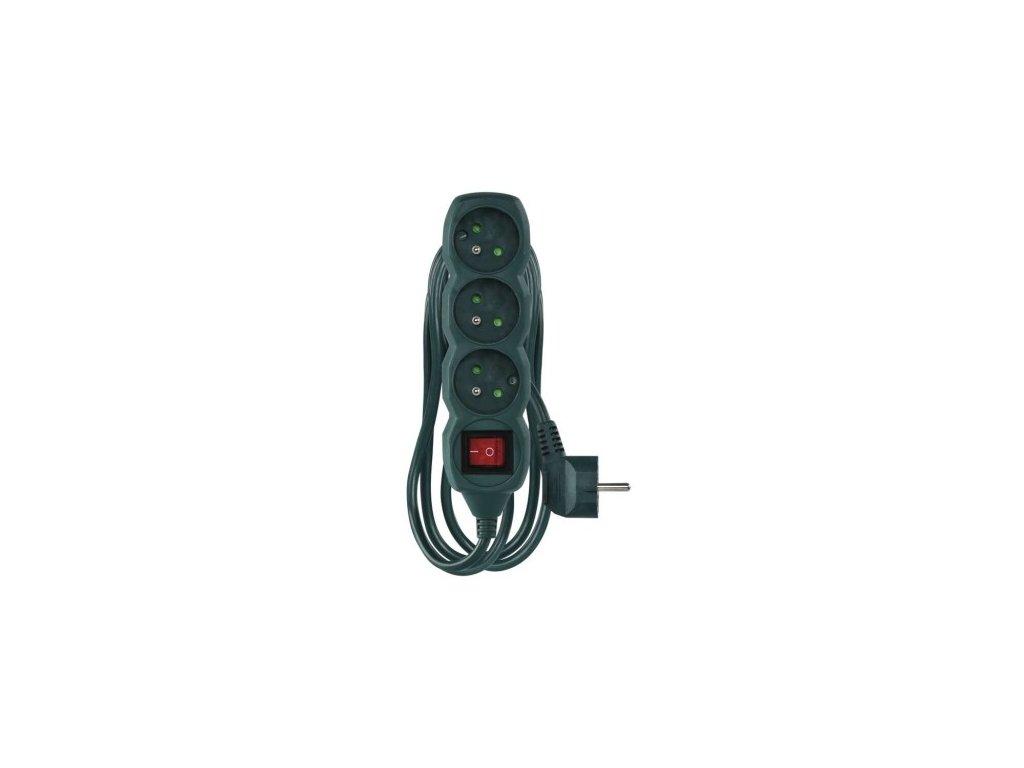 Prodlužovací kabel s vypínačem 3 zásuvky 3m, zelená