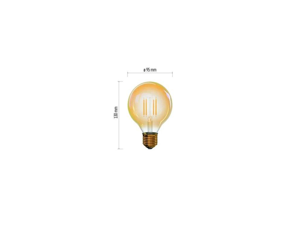 LED žárovka Vintage - Globe G95 - 4W, 380lm, E27, extra teplá - Emos Lighting (Z74304)