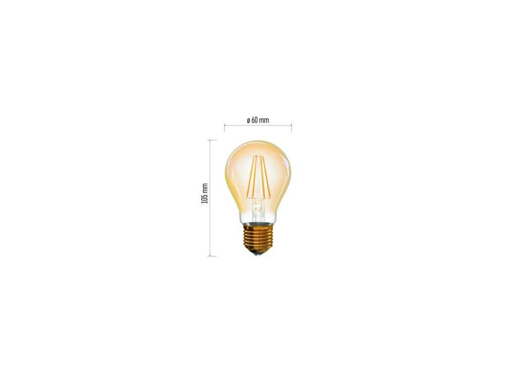 LED žárovka Vintage - Classic A60 - 4W, 380lm, E27, extra teplá - Emos Lighting (Z74301)