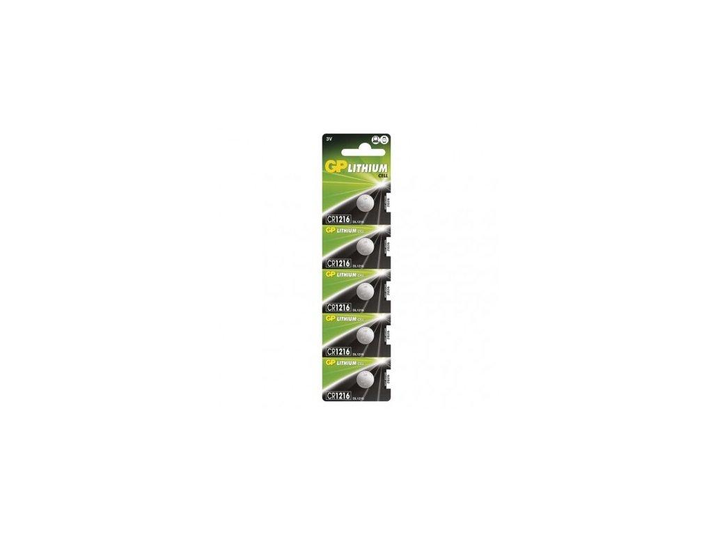 Lithiová knoflíková baterie GP CR1216, blistr