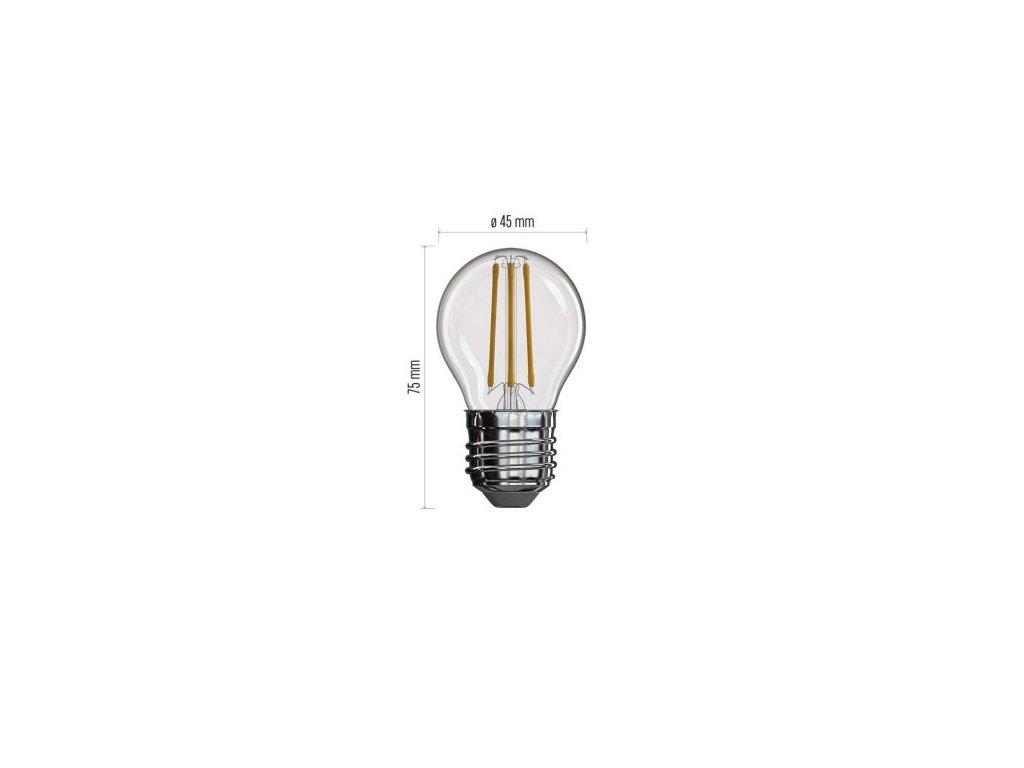 LED žárovka Filament - Mini Globe G45 - 4W, 465lm, E27, teplá bílá - Emos Lighting (Z74240)