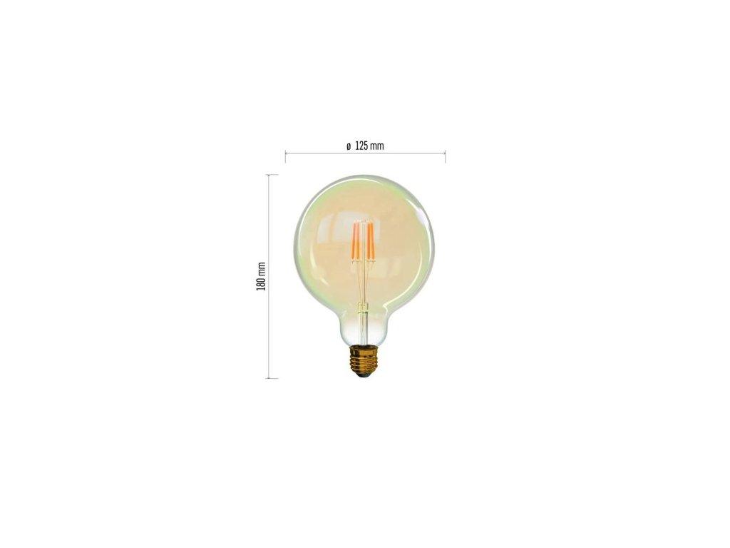 LED žárovka Vintage - Globe G125 - 4W, 380lm, E27, extra teplá - Emos Lighting (Z74303)