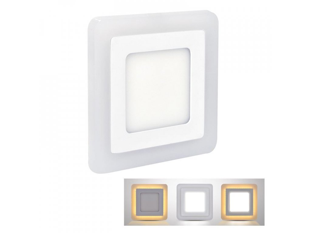 LED podsvícený panel  - 6W (NW) + 3W (WWW), 400lm, 4000K, čtverec - Solight (WD151)